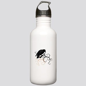 Black Raven Swirl Branches Stainless Water Bottle