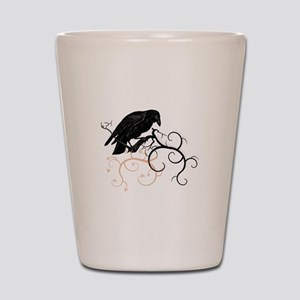 Black Raven Swirl Branches Shot Glass