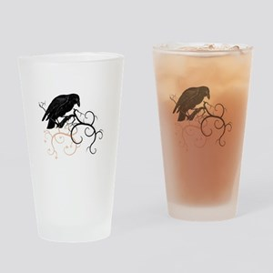 Black Raven Swirl Branches Drinking Glass