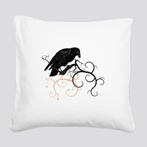 Black Raven Swirl Branches Square Canvas Pillow
