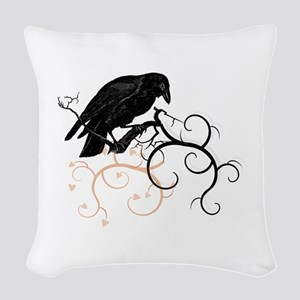 Black Raven Swirl Branches Woven Throw Pillow