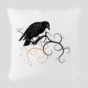 Black Raven Swirl Branches Woven Throw Pillow