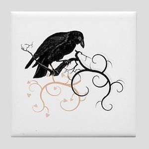 Black Raven Swirl Branches Tile Coaster