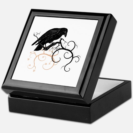 Black Raven Swirl Branches Keepsake Box