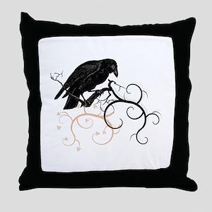 Black Raven Swirl Branches Throw Pillow