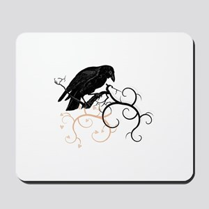 Black Raven Swirl Branches Mousepad