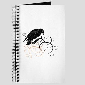 Black Raven Swirl Branches Journal