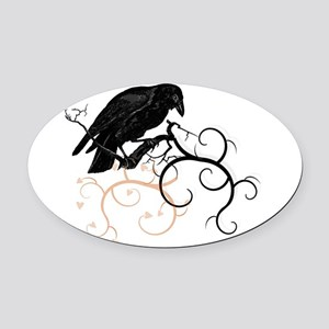 Black Raven Swirl Branches Oval Car Magnet