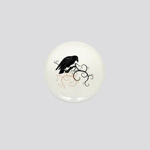 Black Raven Swirl Branches Mini Button