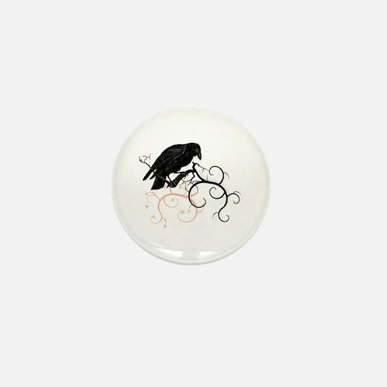 Black Raven Swirl Branches Mini Button