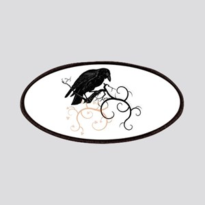 Black Raven Swirl Branches Patches