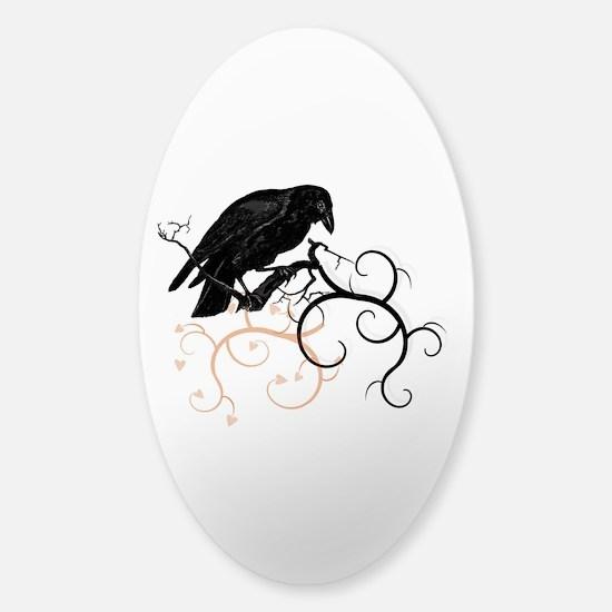 Black Raven Swirl Branches Sticker (Oval)