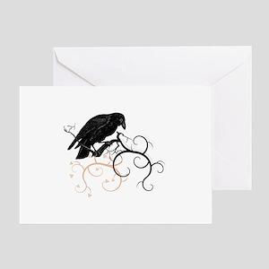 Black Raven Swirl Branches Greeting Card