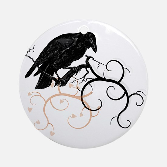 Black Raven Swirl Branches Ornament (Round)