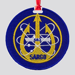 uss sargo patch transparent Round Ornament