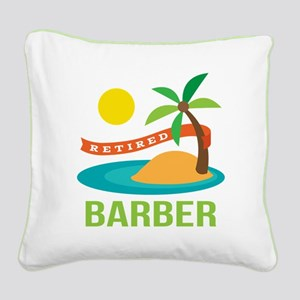 Retired Barber Square Canvas Pillow