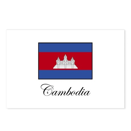 Cambodia - Flag Postcards (Package of 8)