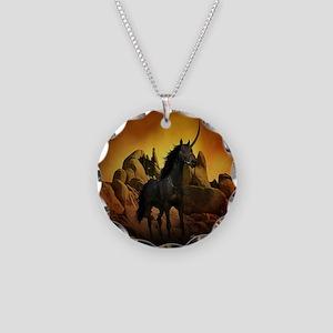 Unicorn - The Dark One Necklace Circle Charm