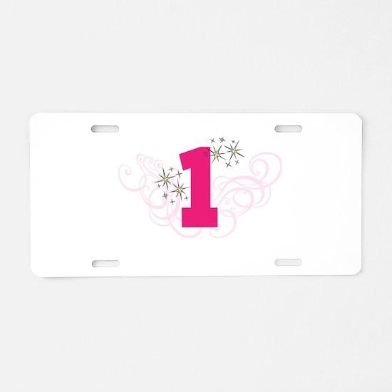 Pink Custom number birthday Aluminum License Plate