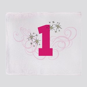 Pink Custom number birthday Throw Blanket