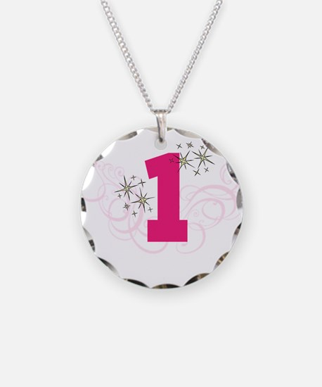 Pink Custom number birthday Necklace Circle Charm