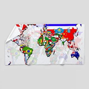 World Flag Map Beach Towel