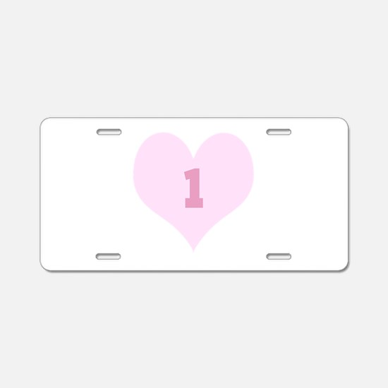 Pink Number 1 Heart Aluminum License Plate