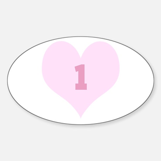 Pink Number 1 Heart Decal