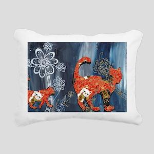 Lucky Red Cats Rectangular Canvas Pillow