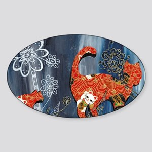Lucky Red Cats Sticker (Oval)