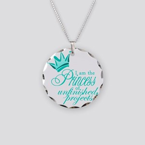 PrincessUnfinishedTeal Necklace Circle Charm