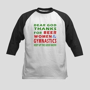 Beer Women and Gymnastics Kids Baseball Jersey