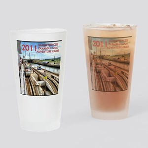 Panama Canal - rect. photo- black e Drinking Glass