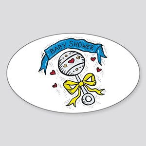 Baby Shower Blue Ribbon Oval Sticker