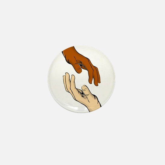 Hands Reaching Out Mini Button