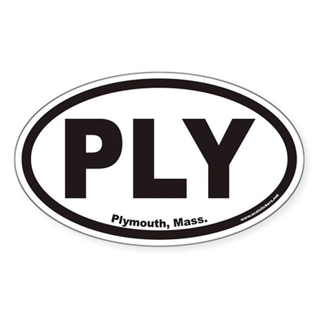 Plymouth Mass PLY Euro Oval Sticker