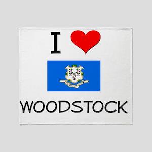 I Love Woodstock Connecticut Throw Blanket