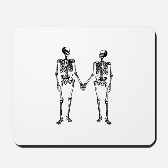 Skeletons Holding Hands Mousepad