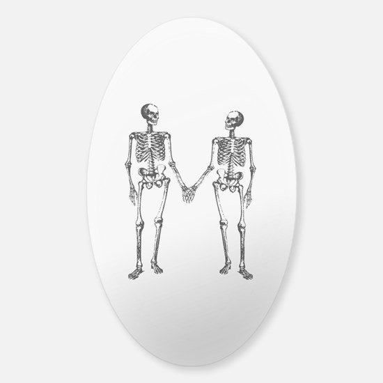 Skeletons Holding Hands Sticker (Oval)