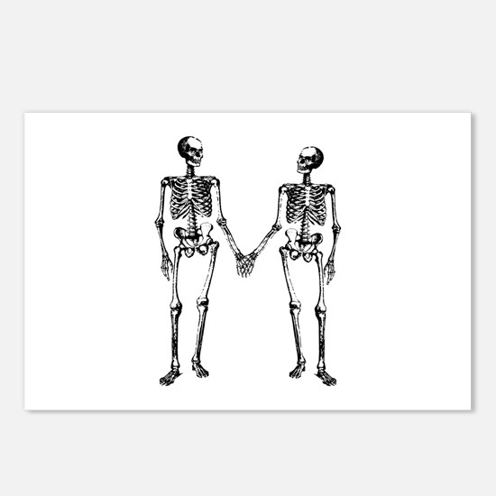 Skeletons Holding Hands Postcards (Package of 8)