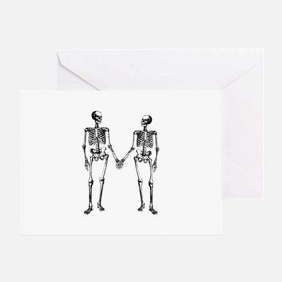Skeletons Holding Hands Greeting Card