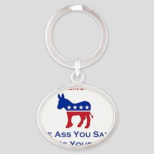 Vote Democratic Oval Keychain