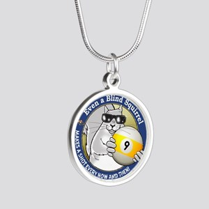 9-Ball Blind Squirrel Silver Round Necklace