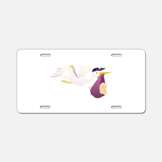 Stork Carrying Baby Aluminum License Plate