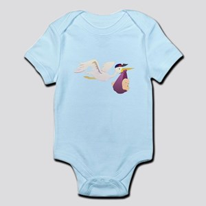 Stork Carrying Baby Body Suit