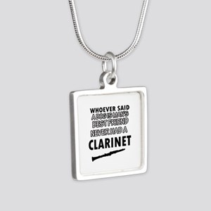 Cool Clarinet designs Silver Square Necklace