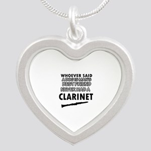 Cool Clarinet designs Silver Heart Necklace