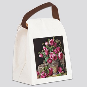 Roses, artwork by Ferdinand Georg Canvas Lunch Bag