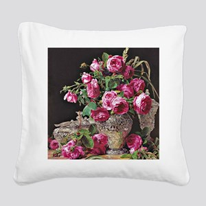 Roses, artwork by Ferdinand G Square Canvas Pillow