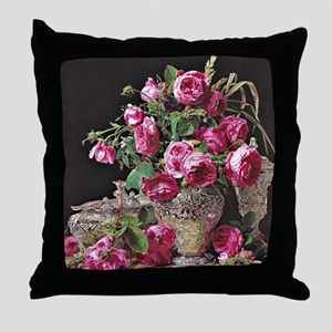 Roses, artwork by Ferdinand Georg Wal Throw Pillow